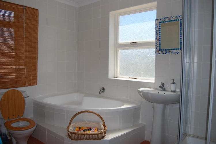 Main bathroom with shower and bath.