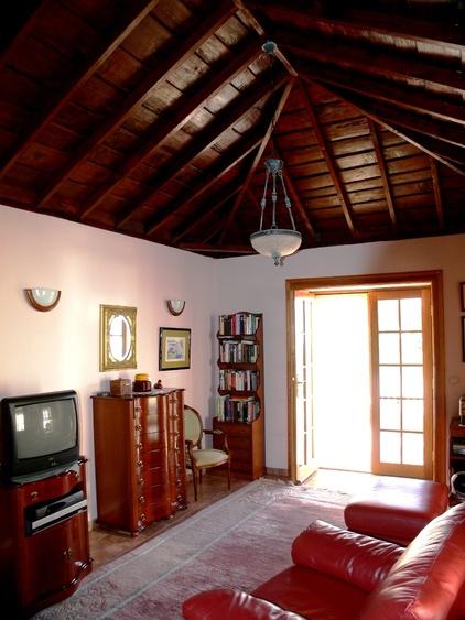 Salon - sichtbare Innendach-Holzkonstruktion