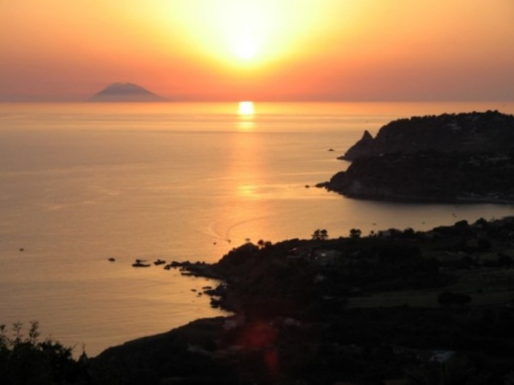 Sunset from Monte Poro with Stromboli on the horizon