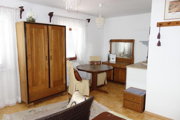 Studio living area with kitchenette
