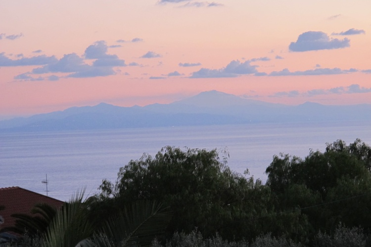 Balcony view of Sicily and Mt Etna towards sunset