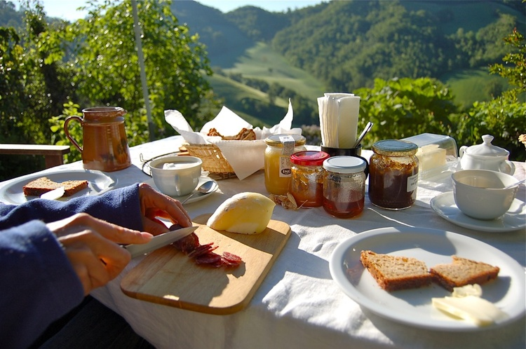 Extensive breakfast: regional cheese specialties, among others fine homemade organic breads