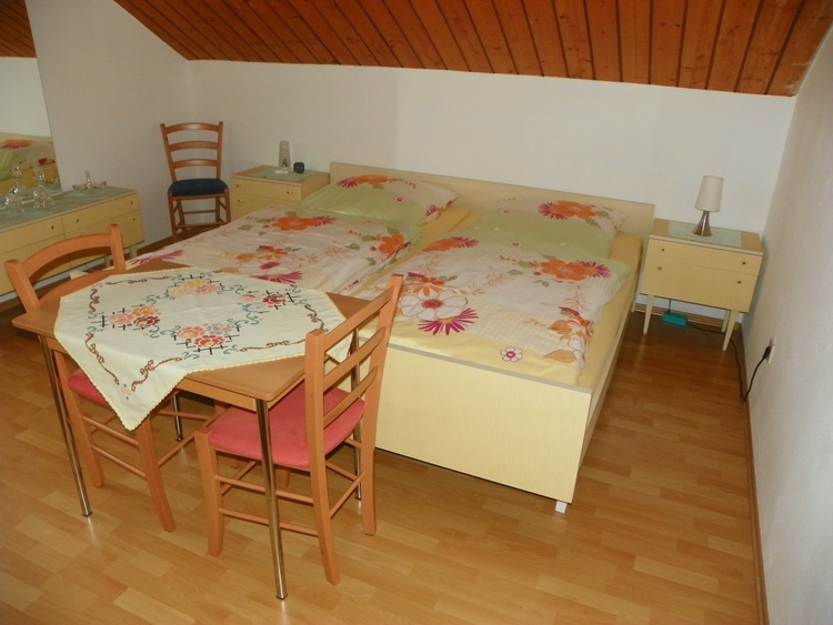 bright double bed room