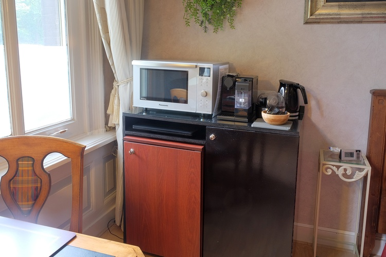Refrigerator, microwave/oven, coffee maker, etc.