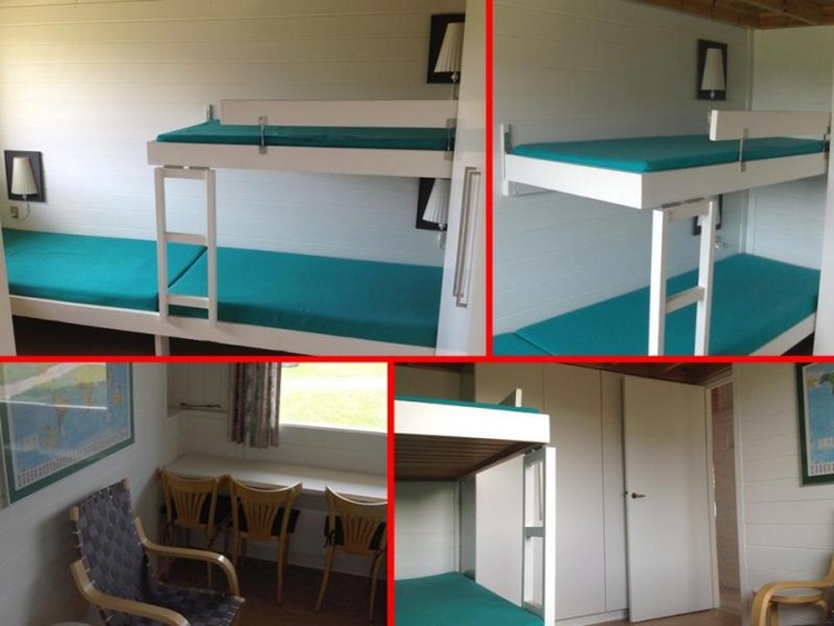 Room with three beds. Cot and high chair are available. Ample closet space
