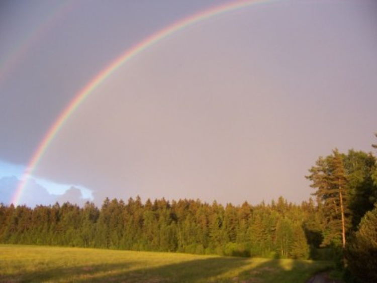 panorama view with rainbow