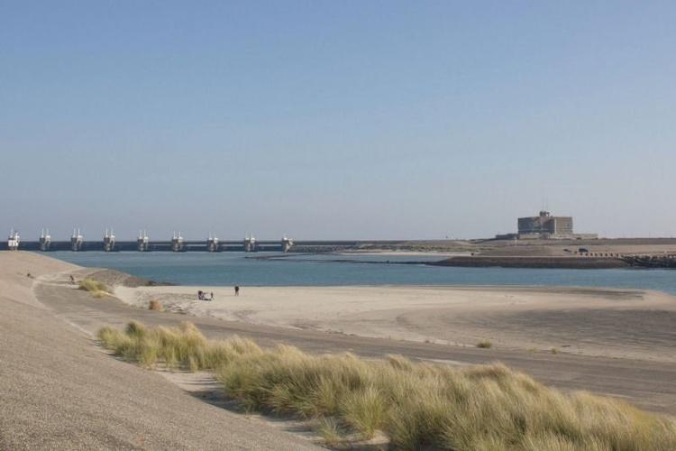 beach nearby Eastern scheldt barrier