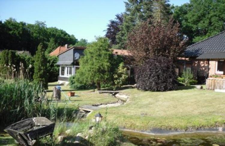 Blick auf das Ferienhaus durch den Garten
