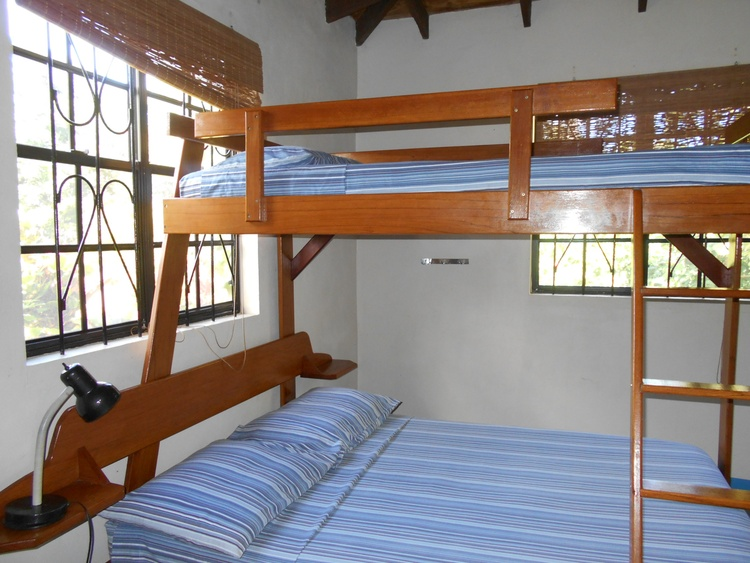 Second bedroom in #2 & 5 have double beds with single bunk bed above.