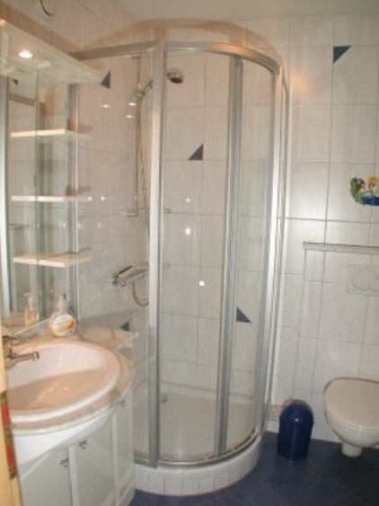 Duschbad mit Runddusche, großer Spiegel und Spossenheizkörper