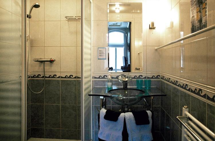Shower and wash-hand basin
